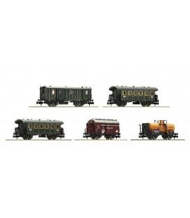 """Set de 5 piezas """"Tren de mercancías para el transporte de personas"""", K.Bay.Sts.B. Ref: 809003. Fleischmann. N"""