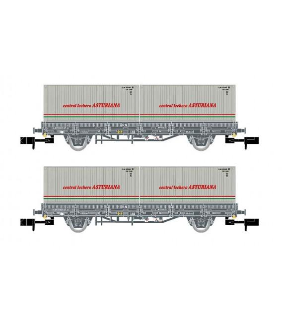 "Pack de 2 vagónes Plataforma color Gris, con 2 contenedores  ""Central lechera ASTURIANA"", época IV. Ref: HN6421. ARNOLD. N"
