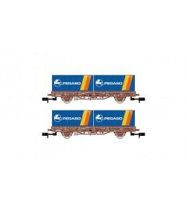 """Pack de 2 vagónes Plataforma color Rojo, con 2 contenedores  """"PEGASO"""", época IV. Ref: HN6422. ARNOLD. N"""