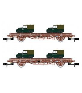 Pack de 2 vagónes Plataforma color Rojo, con 2 Land Rover, época V. Ref: HN6424. ARNOLD. N