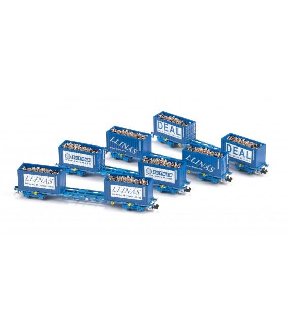 SET 4 Plataformas COMSA con contenedores de 20' de chatarra   Ref: N71003. MFTRAIN. N