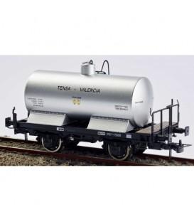 Vagón cisterna con balconcillo. TENSA - VALENCIA Plateado. PR-15698 Ref: 0712-N. K*TRAIN. H0
