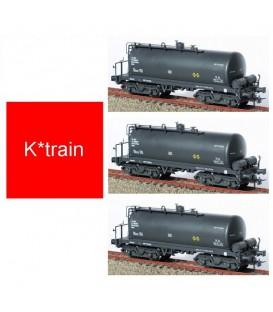 Set de 3 Cisternas de bogies RENFE gris Ref: 0754-B. K*TRAIN. H0