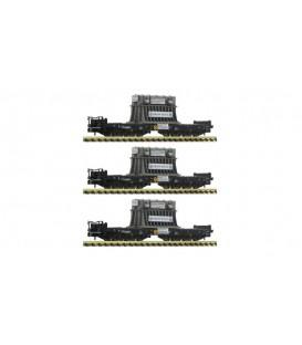 Set de tres vagones para cargas pesadas tipo Samms, DB. Ref: 854411. Fleischmann. N