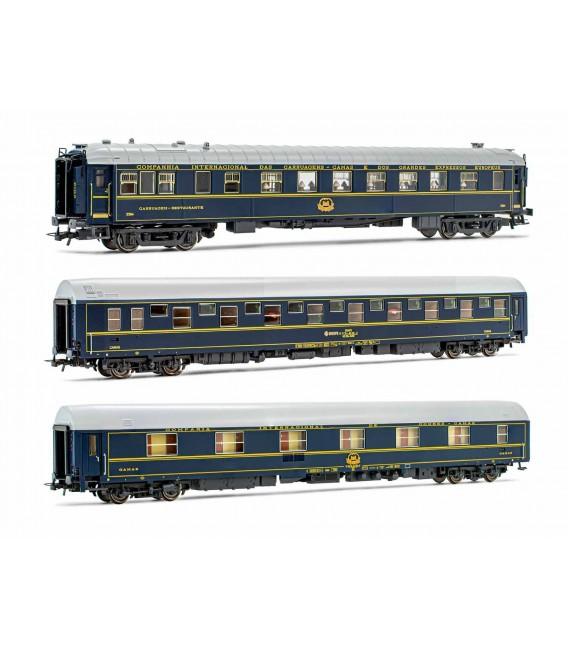 Set de 3 coches (2 Camas T2) (1 Restaurante CIWL) Ref: 18038. ELECTROTREN. H0