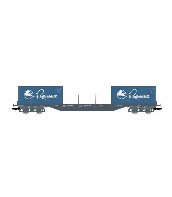 """Vagón plataforma porta contenedores """"Pegaso"""" . Ref: E6547. ELECTROTREN. H0"""