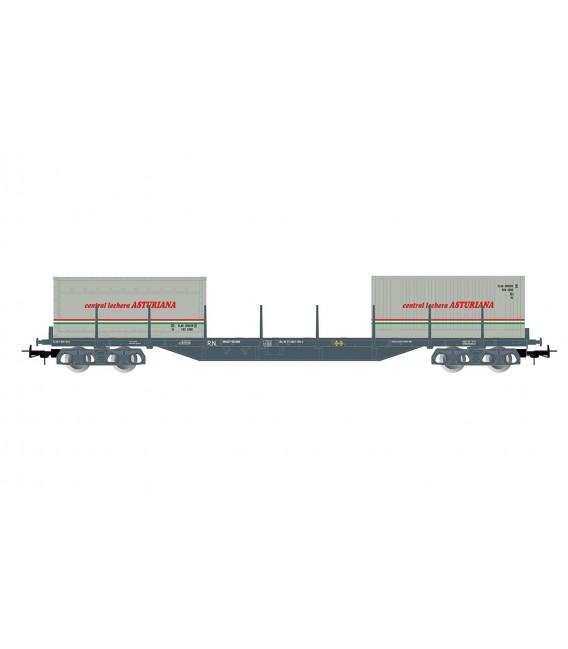 "Vagón plataforma porta contenedores ""Central Lechera Asturiana"" . Ref: E6548. ELECTROTREN. H0"