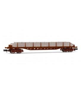 Vagón plataforma Rgs de 4 ejes, cargado conTraviesas Hormigón, RENFE. Ref: HN6503. ARNOLD. N