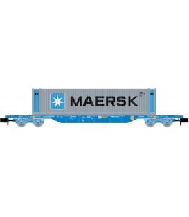 "Vagón portacontenedores MMC, cargado con Contenedor ""MAERSK"", RENFE. Ref: HN6441. ARNOLD. N"