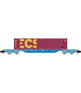 """Vagón portacontenedores MMC, cargado con Contenedor """"ECS Bulk"""", RENFE. Ref: HN6441. ARNOLD. N"""