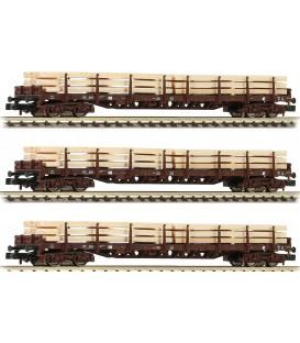 Set de 3  vagones Plataforma con maderos, ÖBB. Ref: 826810. Fleischmann. N