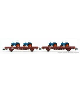 Pack de 2 vagónes Plataforma Ks, con 4 Tractores, época IV. Ref: HN6488. ARNOLD. N