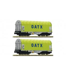 2 piece set slide tarpaulin wagons, GATX Ref: 837931. FLEISCHMANN. N