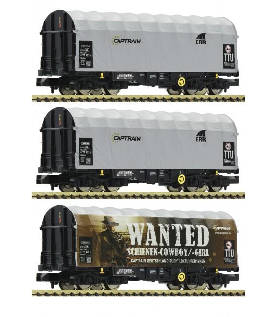 3 piece set slide tarpaulin wagons, CAPTRAIN Ref: 837932. FLEISCHMANN. N