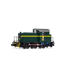 RENFE, locomotora de maniobras diesel 303-040-0, decoración verde oscuro/amarillo, ép IV Ref: HN2509. N