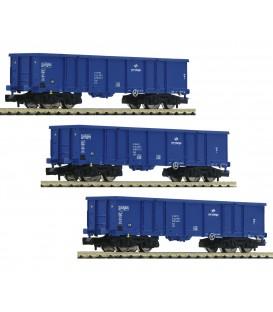 Set de 3 vagones de mercancías abiertos tipo Eaos, PKP Cargo,  Ref. 852329 FLEISCHMANN. N