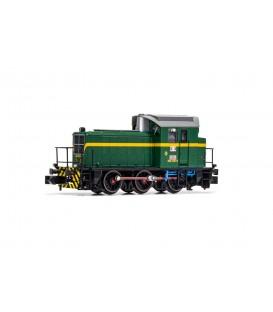 RENFE, locomotora de maniobras diesel 303-035-0, decoración verde/amarillo, ép IV Ref: HN2510. N