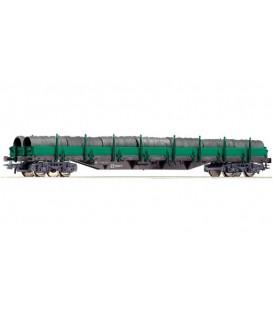 Vagón de plataforma con teleros de la RENFE. Ref: 66753. ROCO. H0