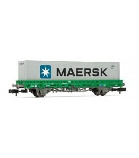 Vagón plataforma RImms verde, contenedor MAERSK. Ref: HN6253. ARNOLD. N
