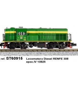 Locomotora diesel 308-003-3 RENFE  Verde - Amarilla. Ref: ST60923. STAR TRAIN. N