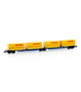 Vagón Contenedores articulado (DB) DHL. Ref: H23729. HOBBYTRAIN. N