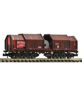 Vagón Telescópico tipo:Sahimms 900, DB AG conbobinas Ref: 838702. FLEISCHMANN. N